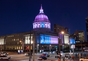 San Francisco City Hall lit in transgender pride flag colors